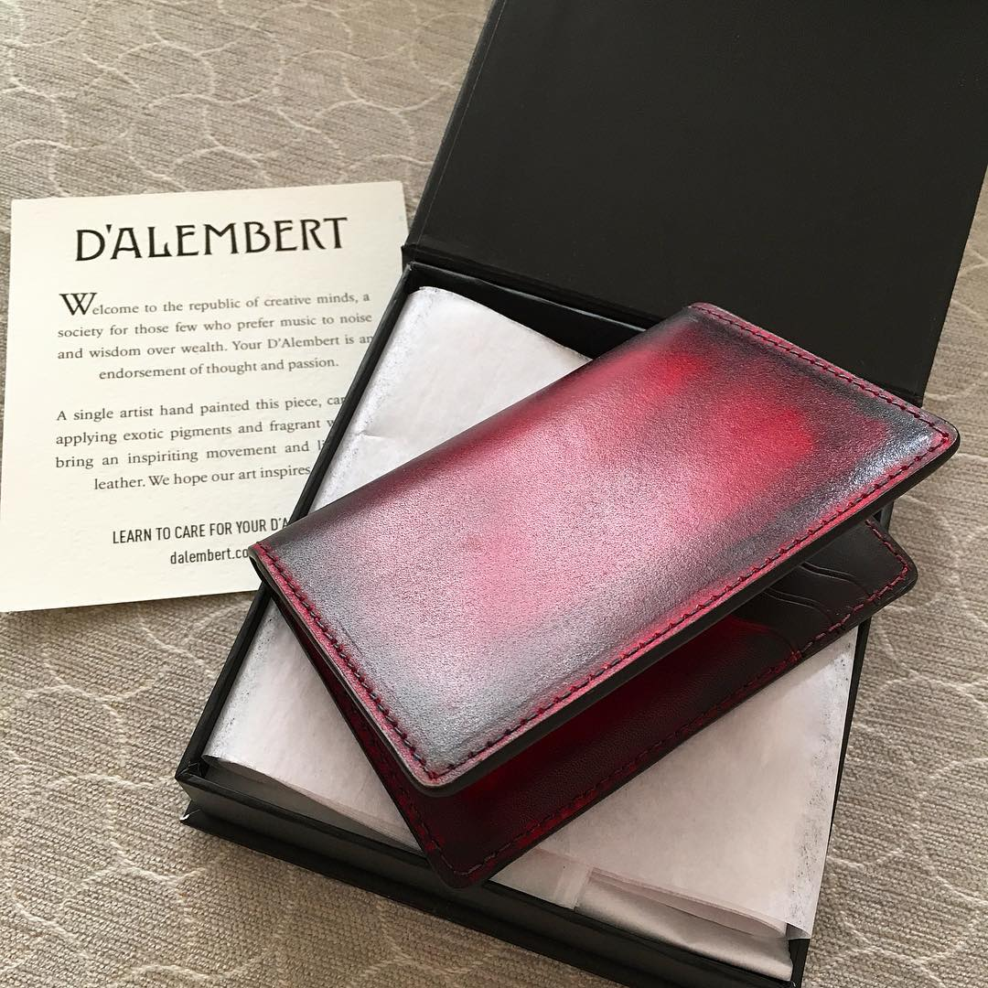 Our new exceptional small #wallet from @dalembertofficial. Hand-painted leather produced through a painstakingly laborious process. Can't wait to put this #heirloom its paces. #luxury #handmade #leather #accessories