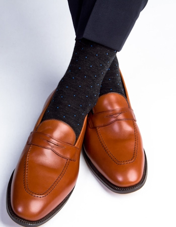 Dapper Classics Charcoal Merino Royal Blue Dotsjpg Socks We Love: Dapper Classics