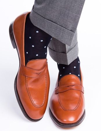 Dapper Classics Navy Dots Socks We Love: Dapper Classics